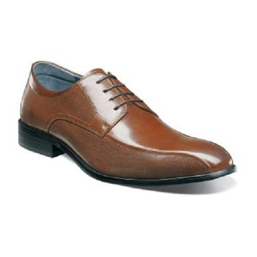 Chaussures Stacy Adams Julius Bike Toe hommes Cognac Buffalo Leather Oxford 25148-221