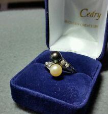 Belle bague or blanc 18K et perles