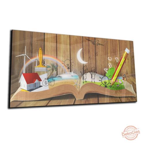 "DEKOGLAS Magnettafel /""Buchwelten/"" 72x34 Glas Magnet-Wand Whiteboard Memoboard"