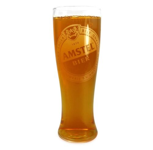 2 X NEW AMSTEL PINT GLASSES WITH LOGO
