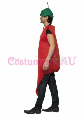 Adult Unisex Chilli Pepper Costume Mens Red Hot Vindaloo Mexican Fancy Dress