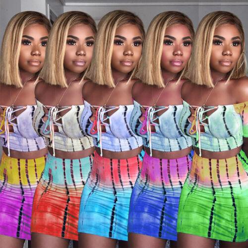 Damen Ombre Dip Dye Zweiteiliges Kleid Bodycon Minirock Crop Top Set Clubwear 44
