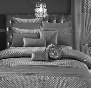 Home-Fab-Jade-Silver-Quilted-Velvet-Diamante-Bedding-Bedroom-Collection