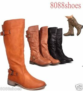 Women-039-s-Fashion-Zipper-Round-Toe-Mid-Calf-Knee-High-Boot-Shoes-Size-5-5-11-New
