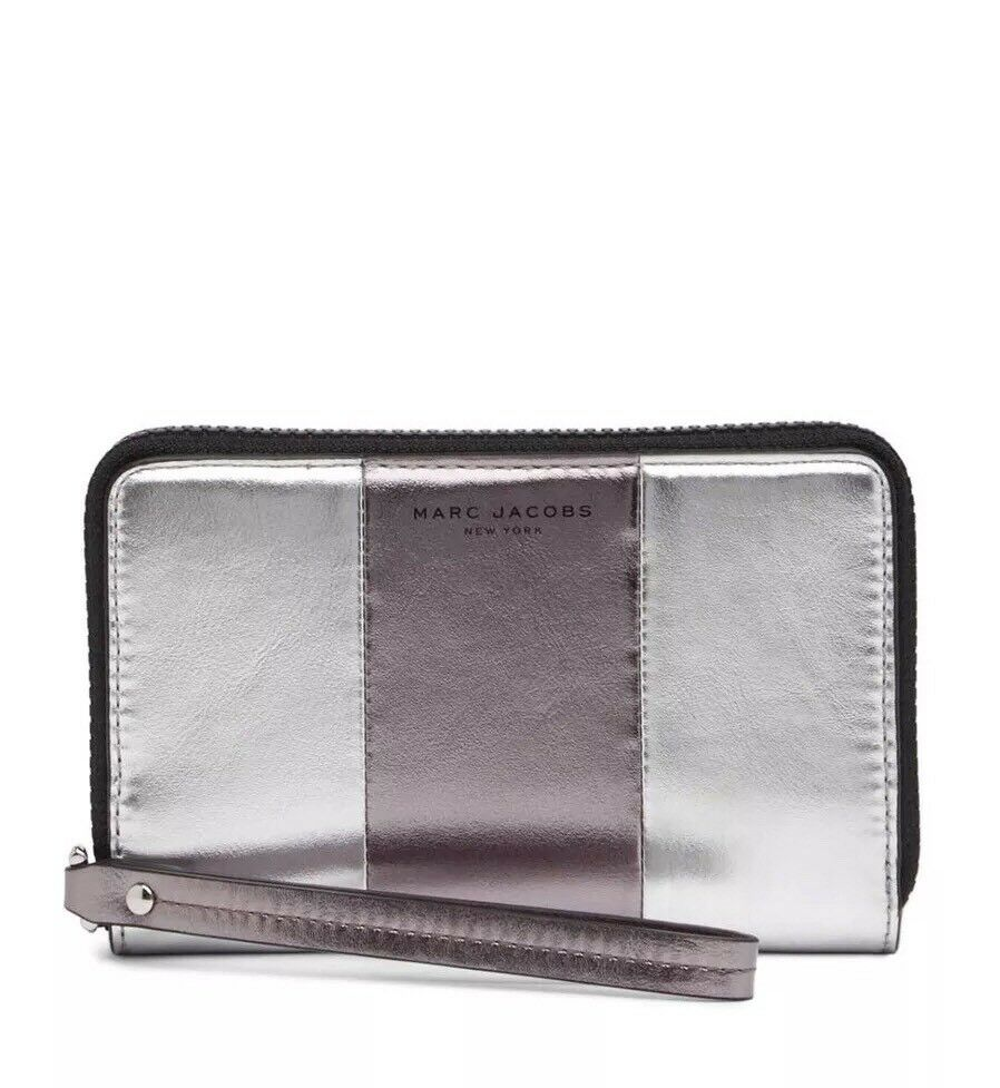 NWT Marc Jacobs Womens Bicolor Metallic Leather Phone Wrist Wallet Silver Multi