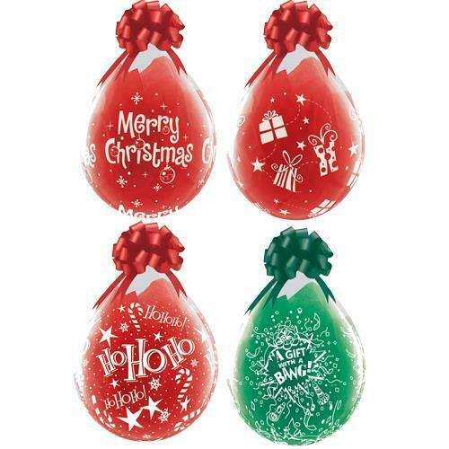 Christmas Assorted Qualatex 18 Inch Clear Latex Balloons