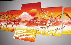 QUADRO-tramonto-paesaggio-Giapponese-160X60-etnico-fatto-a-mano-pintura-peintura