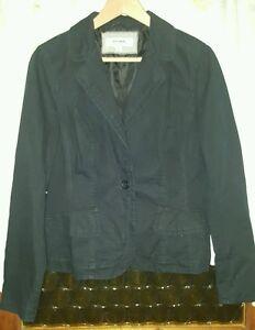 WOMEN-039-S-Sz-12-black-JUST-JEANS-pinstripe-jacket-LOVELY-CLASSY