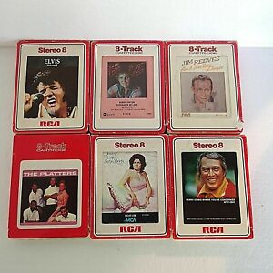 Vintage 70's Lot of 6 Various Artists 8-Track Tapes Elvis, Platters, Perry Como