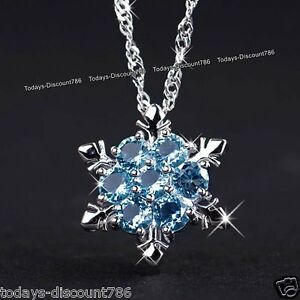 NEW-Silver-Xmas-Jewellery-Gifts-For-Her-Women-Blue-Snowflake-Crystals-Necklace