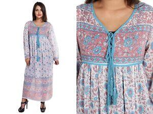 cotton pink blue floral long sleeve women's maxi dress summer vintage boho wear