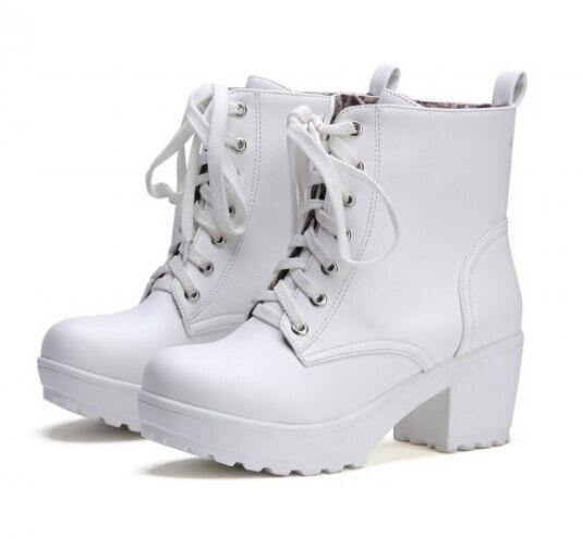 Plus size Womens punk lace Up ankle boots high platform block heels pumps 3color