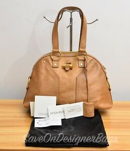 3e4379c5f0af Yves Saint Laurent YSL Muse Medium Tote Bag Tan Brown Used Authentic ...