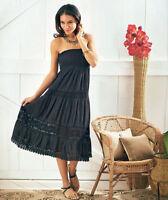 Women's Crochet Accent Convertible Skirt Strapless Sundress Black Small 6/8