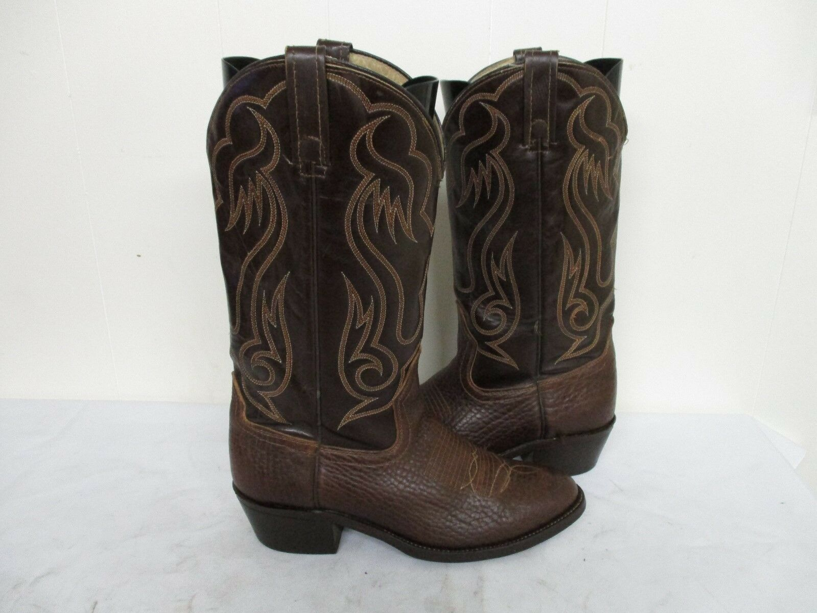 Acme Brown Leather Cowboy Boots Leather Soles Mens Size 8.5 D Style 6098 USA
