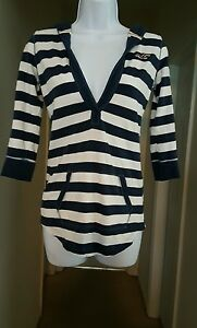 Hollister-Women-039-s-White-amp-Blue-Striped-Hooded-Pullover-Shirt-Size-XS