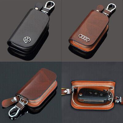 Genuine Leather Auto Car Key Bag Pouch Remote Keychain Key Case Holder