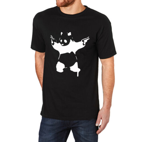 Loo Show Banksy Stencil Grafitti Panda with Gun Black Funny Crew T-Shirt Men Tee
