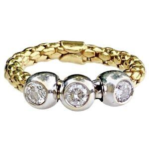 Fope-Italy-18K-Yellow-White-Gold-Diamond-Three-Stone-Ring-5-75