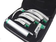Laryngoscope Set 6 Pcs Intubaion Blades Handle Fiber Optic Kit With Black Case