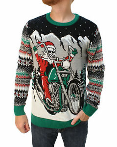 Big And Tall Ugly Christmas Sweater.Details About Ugly Christmas Sweater Men S Big Tall Santa Motorcycle Led Light Up Sweatshirt