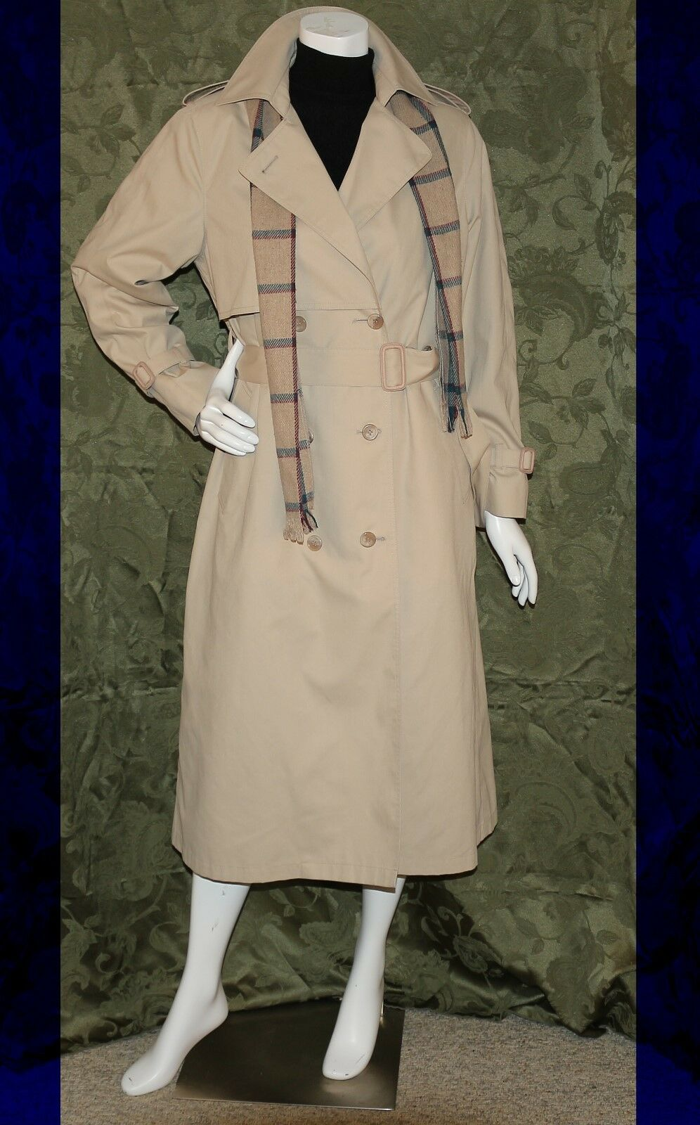LONDON FOG Beige Women Double Breasted Belted Trench Raincoat with Scarf