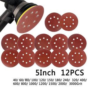 10 X Crochet /& Boucle 125mm 12.7cm Ponçage Disque Sandpaper-120 Orbital Patin
