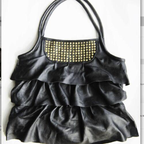 para mujer con de volantes con genuino Estrenar grande bolso caliente tachuelas Bolso negro cuero P8aqxv