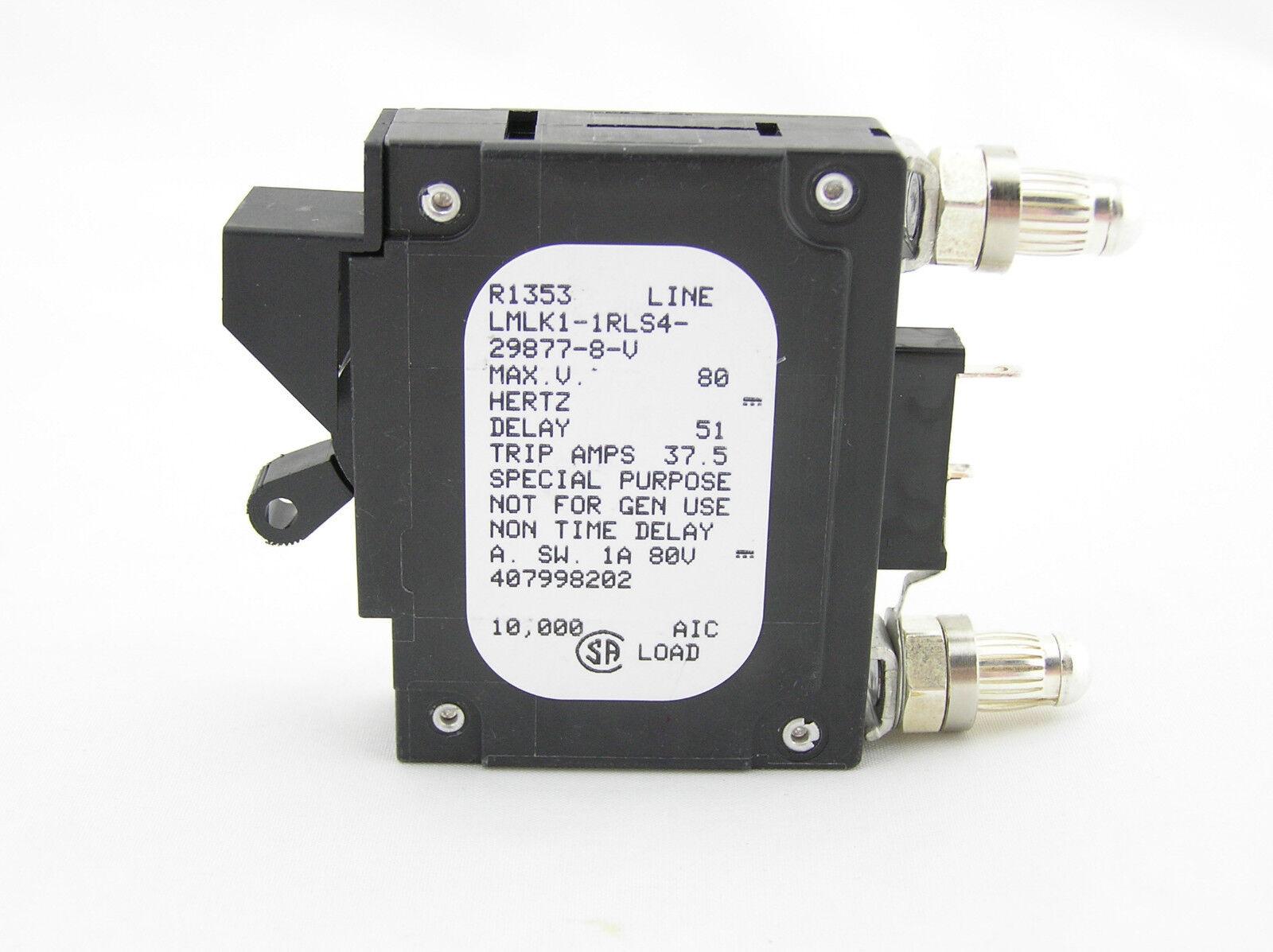 Airpax DC Circuit Breaker LMLK1-1RLS4-29877-8-V 30A 80VDC 1P Used