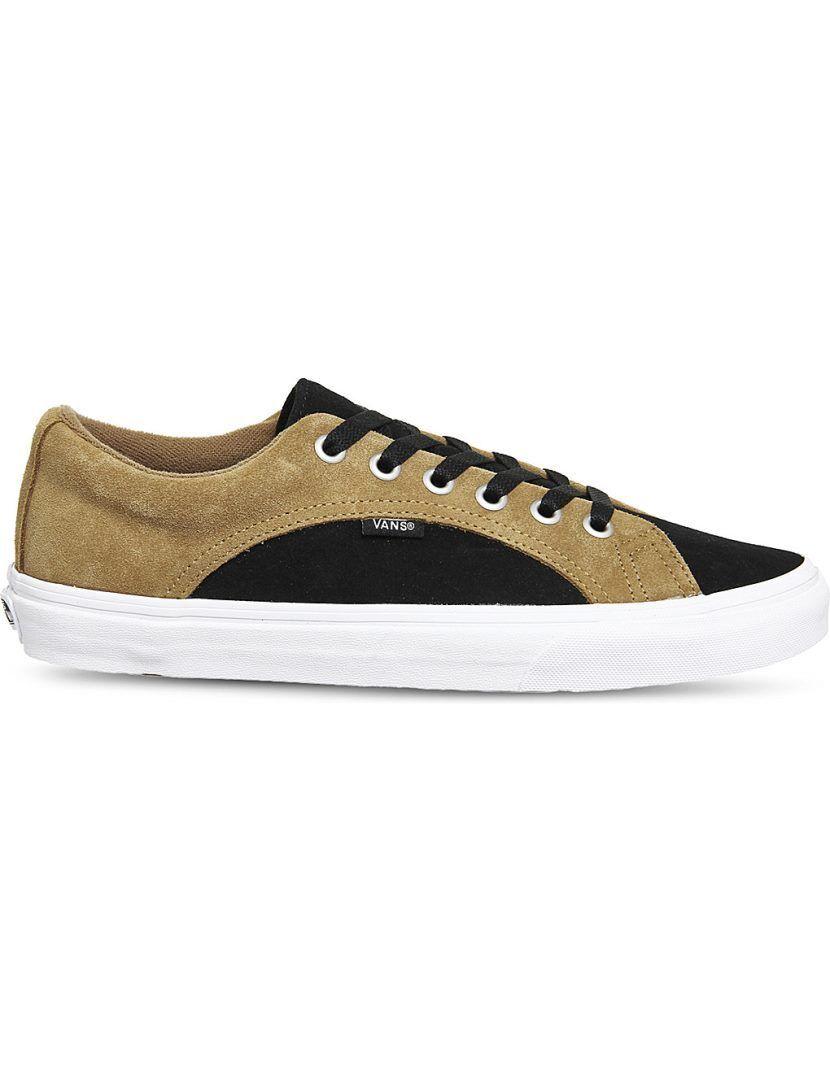VANS Mens Lampin Tan   Black Suede Sneakers UK 7