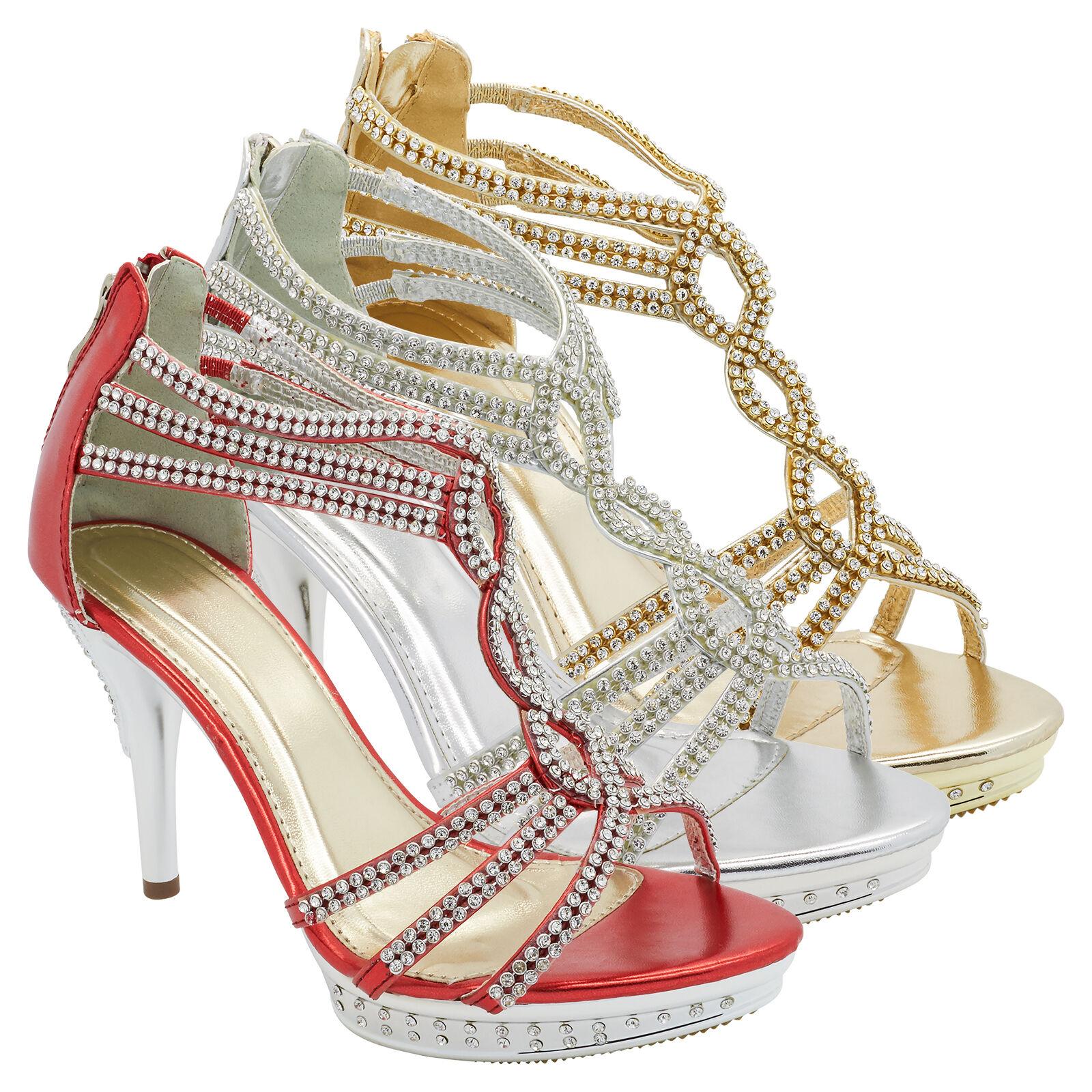 Womens Diamante Platform Shoes High Heel Ankle Strap Sandals Wedding Bridal Size