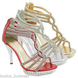 Womens Diamante Platform Shoes High Heel Ankle Strap Sandals Wedding ... 9b51bf4dea
