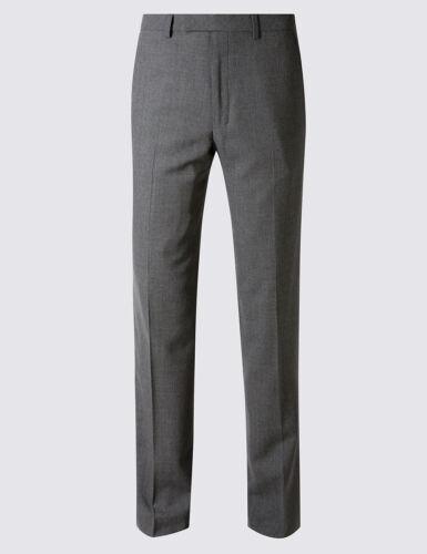 M/&S Savile Row ispirato grigio su misura Fit Lana Pantaloni PRP £ 119