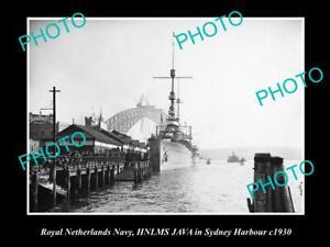 OLD-8x6-HISTORIC-PHOTO-OF-ROYAL-DUTCH-NAVY-SHIP-HNLMS-JAVA-IN-SYDNEY-c1930