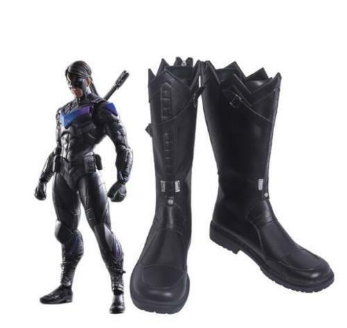 Nightwing Arkham Knight Black Cosplay Boots Shoes Made Halloween FF.2072