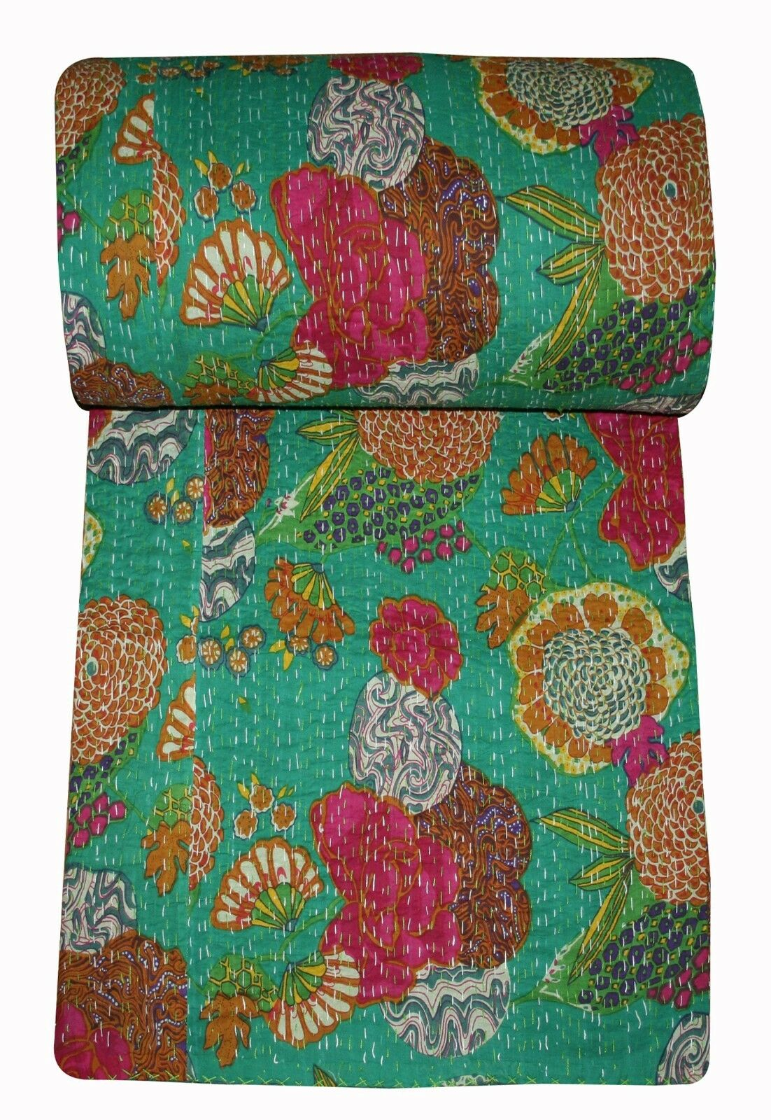 Green Fruit Printed Kantha Handmade Bed cover Kantha Throw Quilt Bedspread Rally