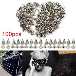 100pcs Silver Metal Bag Studs Cone Punk Spikes Spots Rivets Leather Craft DIY UK