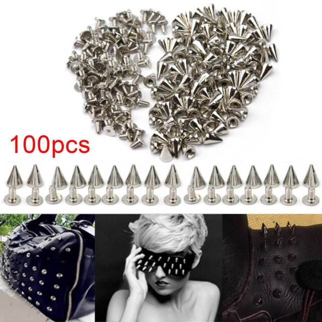100Pcs Silver Metal Bag Studs Cone Punk Spikes Spots Rivets Leather Craft DIY UK