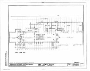 Frank Lloyd Wright\'s Prairie Style Robie House architectural plans ...