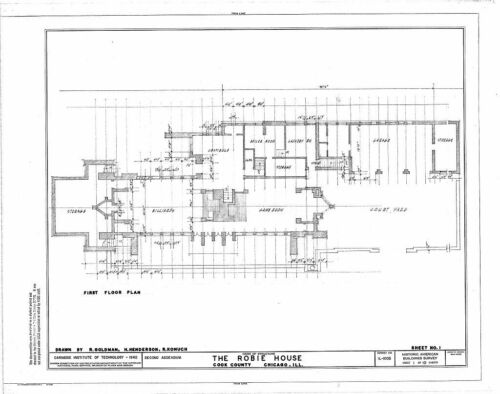 architectural drawings Charnley House Frank Lloyd Wright Prairie Style home