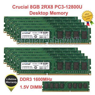 For Crucial 32GB 16GB 8GB 4GB PC3-12800U DDR3 1600 240Pin 1.35V Desktop RAM Lot