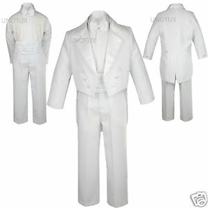 NEW Infant, toddler & Boy Wedding Baptism Formal Party Tuxedo Suit sz:S-20 White