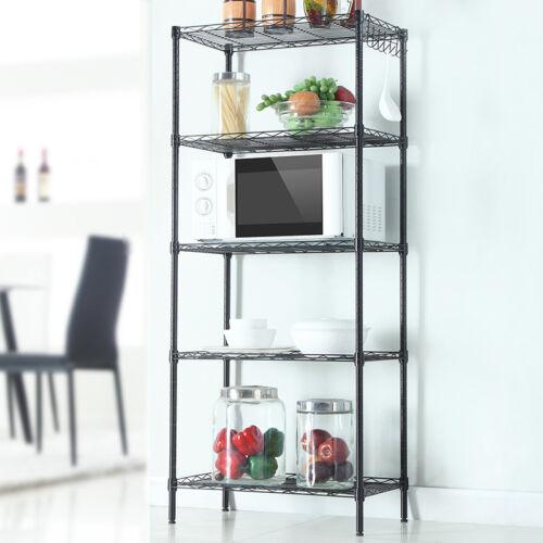 New Wire Shelving 5 Tier Storage Rack Shelf Shelf Shelves Unit Kitchen Organizer