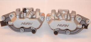 Honda-CBF-500-CBR-600-Nissin-silver-NOS-PAIR-front-brake-3-piston-calipers