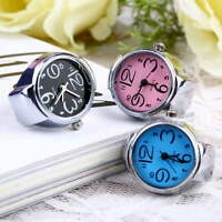 Creative Fashion Steel Round Elastic Quartz Finger Ring Watch Lady Girl Gift MC