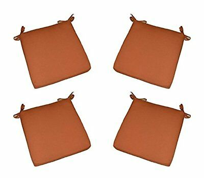"""Set of 4 Rust 3/"""" Foam Chair Seat Cushions w//Ties Solid Clay 20/"""" x 18/"""""""
