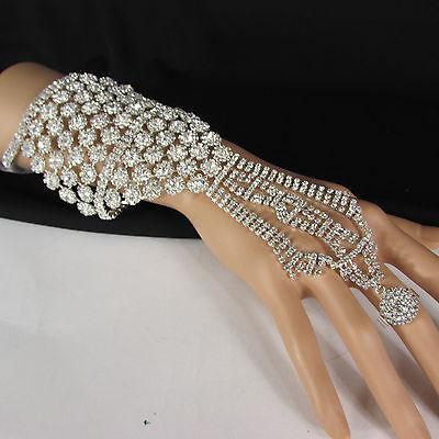 New Women Silver Rhinestones Slave Ring Statement Fashion Bracelet Hand Chains