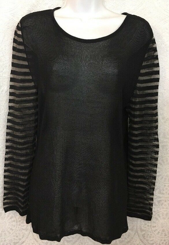 Luv-tricot Top schwarz Sheer Knit Shear Striped Longsleeved Größe Medium