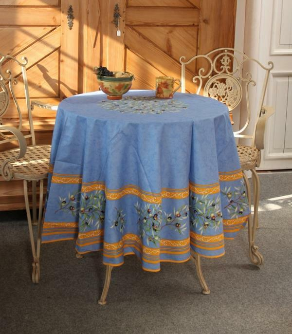ACRYLIC COATED COTTON ROUND 71  + 5 NAPKINS OLIVES bleu FRENCH TABLECLOTH, NEW