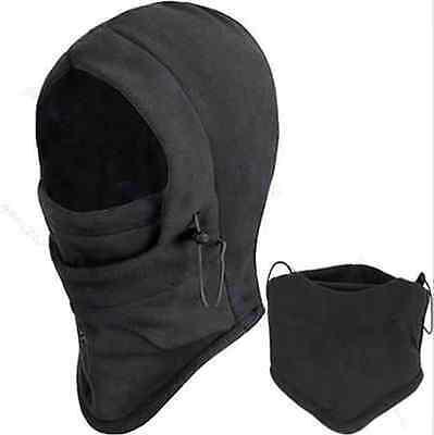 BLACK 4 in 1 SNOOD Fleece Mens scarf Hood Balaclava Neck Winter warmer Face Mask
